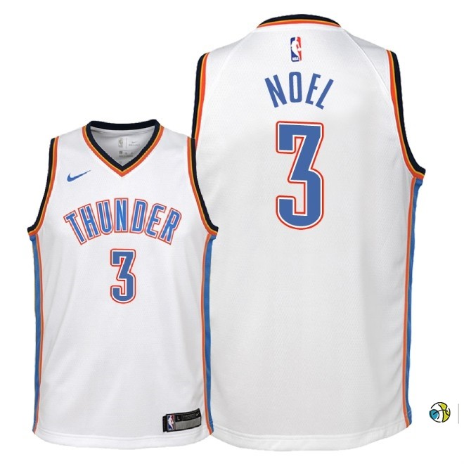 Maillot NBA Enfant Oklahoma City Thunder NO.3 Nerlens Noel Blanc Association 2018