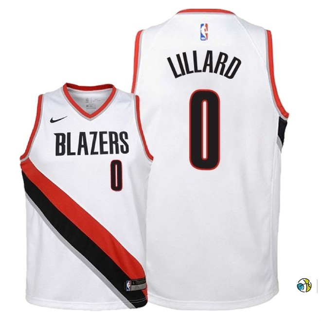 Maillot NBA Enfant Portland Trail Blazers NO.0 Damian Lillard Blanc Association 2018