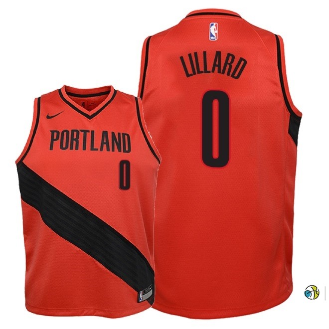 Maillot NBA Enfant Portland Trail Blazers NO.0 Damian Lillard Rouge Statement 2018