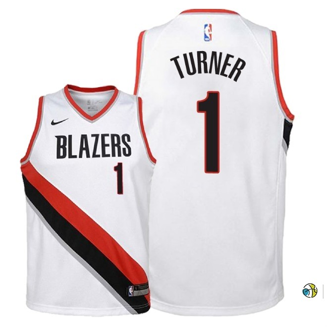 Maillot NBA Enfant Portland Trail Blazers NO.1 Evan Turner Blanc Association 2018