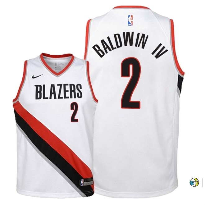 Maillot NBA Enfant Portland Trail Blazers NO.2 Wade Baldwin Iv Blanc Association 2018