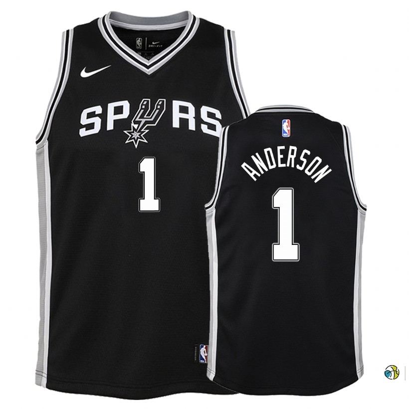 Maillot NBA Enfant San Antonio Spurs NO.1 Kyle Anderson Noir Icon 2018