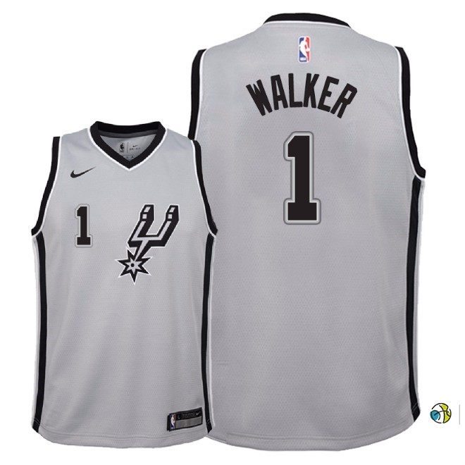 Maillot NBA Enfant San Antonio Spurs NO.1 Lonnie Walker Gris Statement 2018