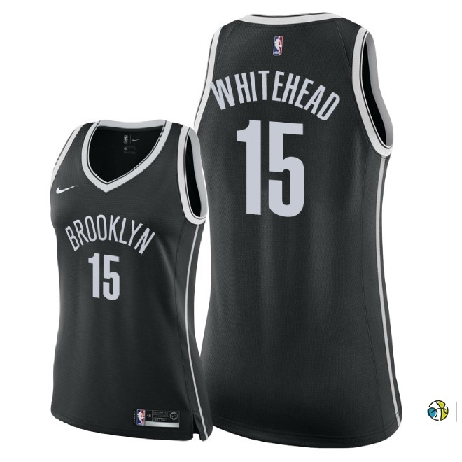Maillot NBA Femme Brooklyn Nets NO.15 Isaiah Whitehead Noir Icon 2018