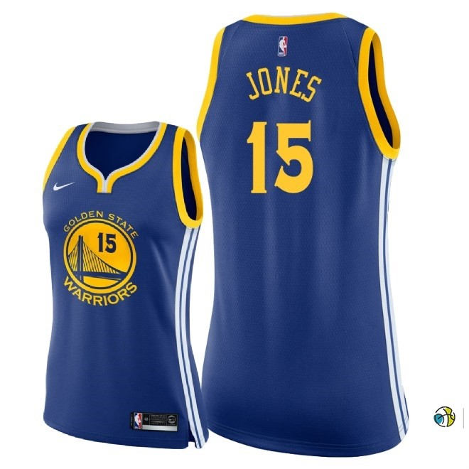 Maillot NBA Femme Golden State Warriors NO.15 Damian Jones Bleu Icon 2018