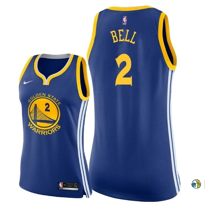 Maillot NBA Femme Golden State Warriors NO.2 Jordan Bell Bleu Icon 2018