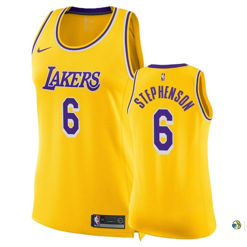 Maillot NBA Femme Los Angeles Lakers NO.6 Lance Stephenson Jaune Icon 2018-19