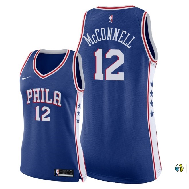 Maillot NBA Femme Philadelphia Sixers NO.12 T.J. Mcconnell Bleu Icon 2018