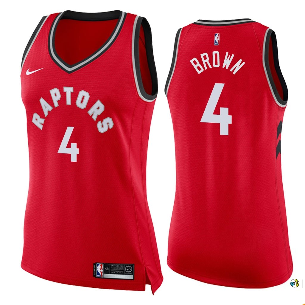 Maillot NBA Femme Toronto Raptors NO.4 Lorenzo Brown Rouge Icon 2018