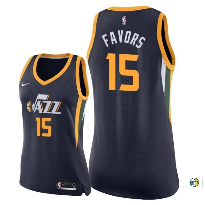 Maillot NBA Femme Utah Jazz NO.15 Derrick Favors Marine Icon 2018