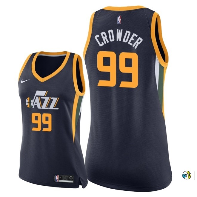 Maillot NBA Femme Utah Jazz NO.99 Jae Crowder Marine Icon 2018