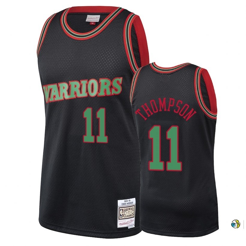 Maillot NBA Golden State Warriors 2018 Noël NO.11 Klay Thompson Retro Noir
