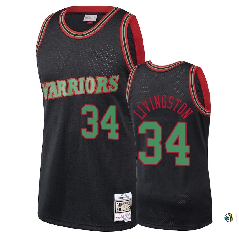 Maillot NBA Golden State Warriors 2018 Noël NO.34 Shaun Livingston Retro Noir