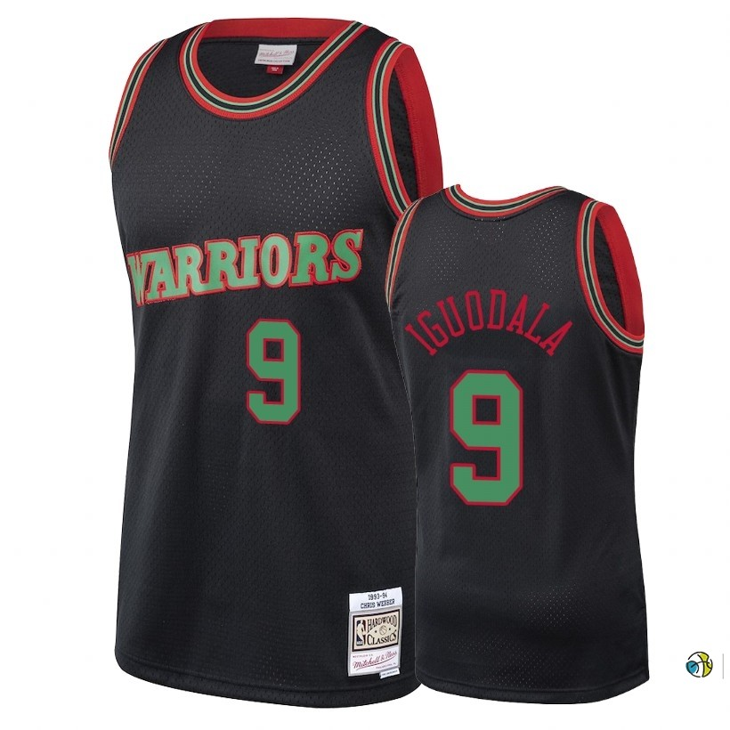 Maillot NBA Golden State Warriors 2018 Noël NO.9 Andre Iguodala Retro Noir