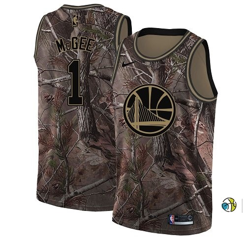 Maillot NBA Golden State Warriors NO.1 Javale Mcgee Camo NBA Swingman Collection Realtree 2018