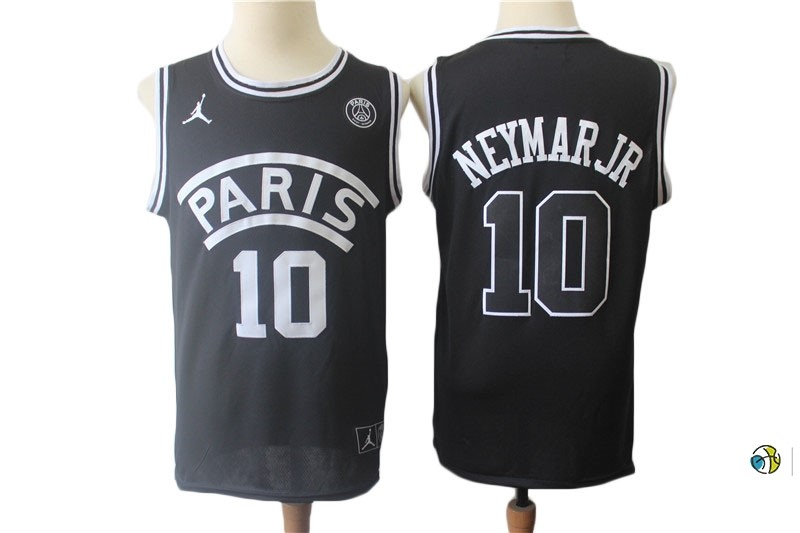 Maillot NBA Jordan X Paris Saint-Germain NO.10 Neymar Jr Noir 2018