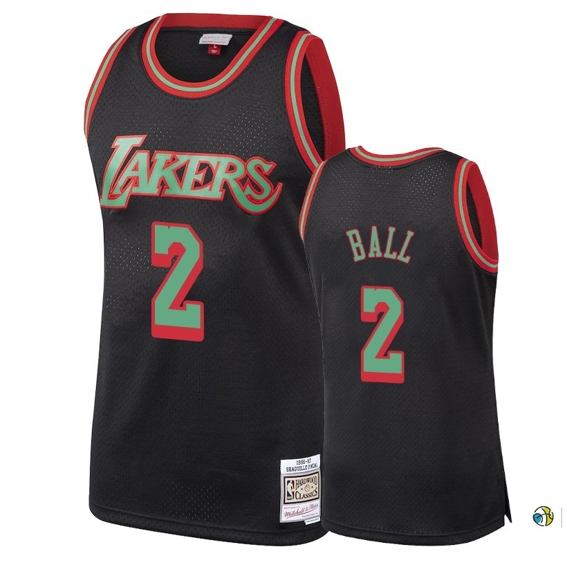 Maillot NBA Los Angeles Lakers 2018 Noël NO.2 Lonzo Ball Retro Noir