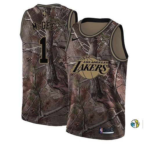 Maillot NBA Los Angeles Lakers NO.1 Javale Mcgee Camo NBA Swingman Collection Realtree 2018