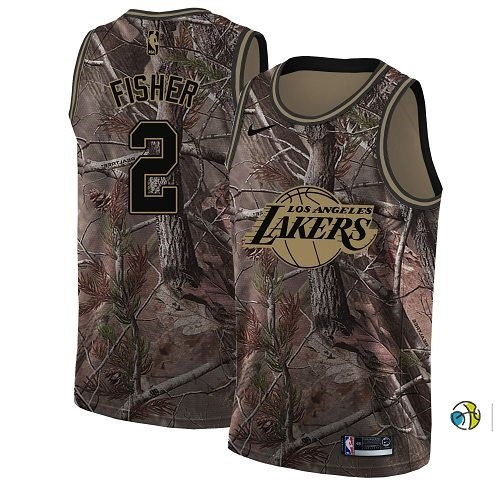 Maillot NBA Los Angeles Lakers NO.2 Derek Fisher Camo NBA Swingman Collection Realtree 2018