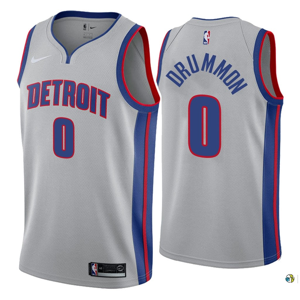 Maillot NBA Nike Detroit Pistons NO.0 Andre Drummond Gris Statement 2018