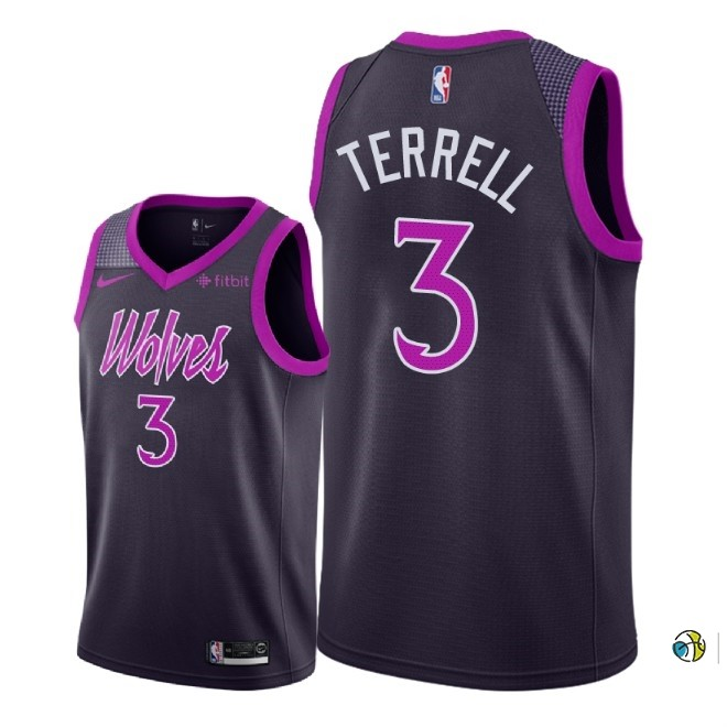Maillot NBA Nike Minnesota Timberwolves NO.3 Jared Terrell Pourpre Ville 2018-19