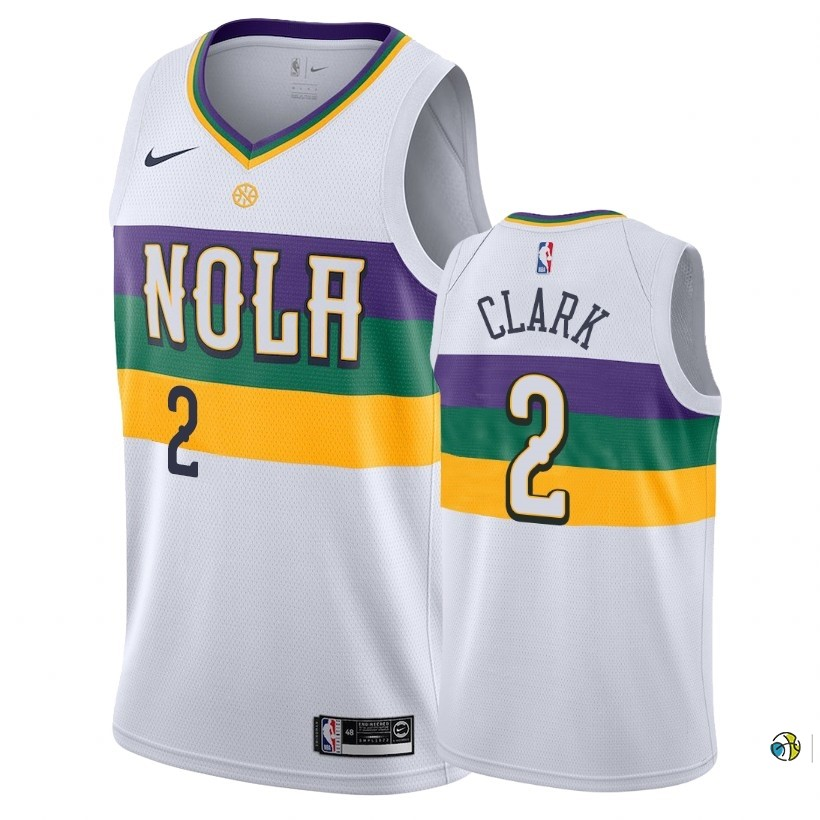 Maillot NBA Nike New Orleans Pelicans NO.2 Ian Clark Nike Blanc Ville 2018-19