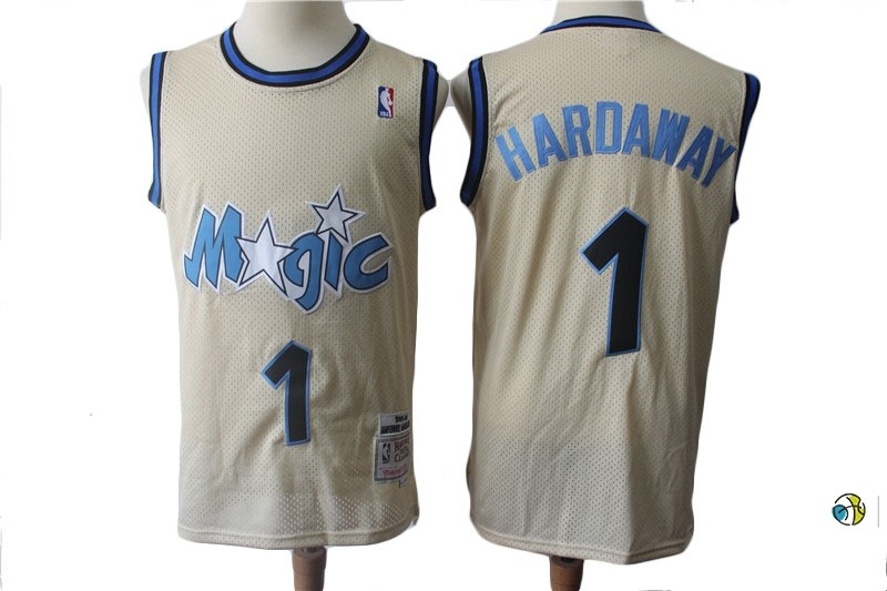 Maillot NBA Orlando Magic NO.1 Anfernee Hardaway Retro Crème 1993-94