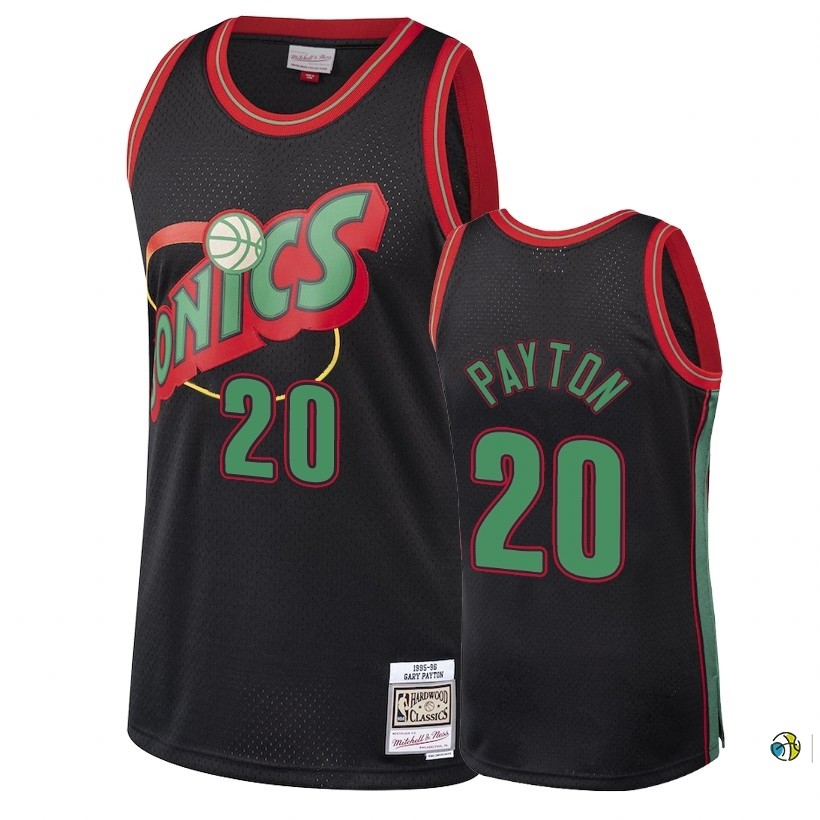 Maillot NBA Seattle Supersonics 2018 Noël NO.20 Gary Payton Retro Noir