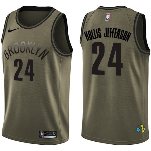 Maillot NBA Service De Salut Brooklyn Nets NO.24 Rondae Hollis Jefferson Nike Armée Verte 2018