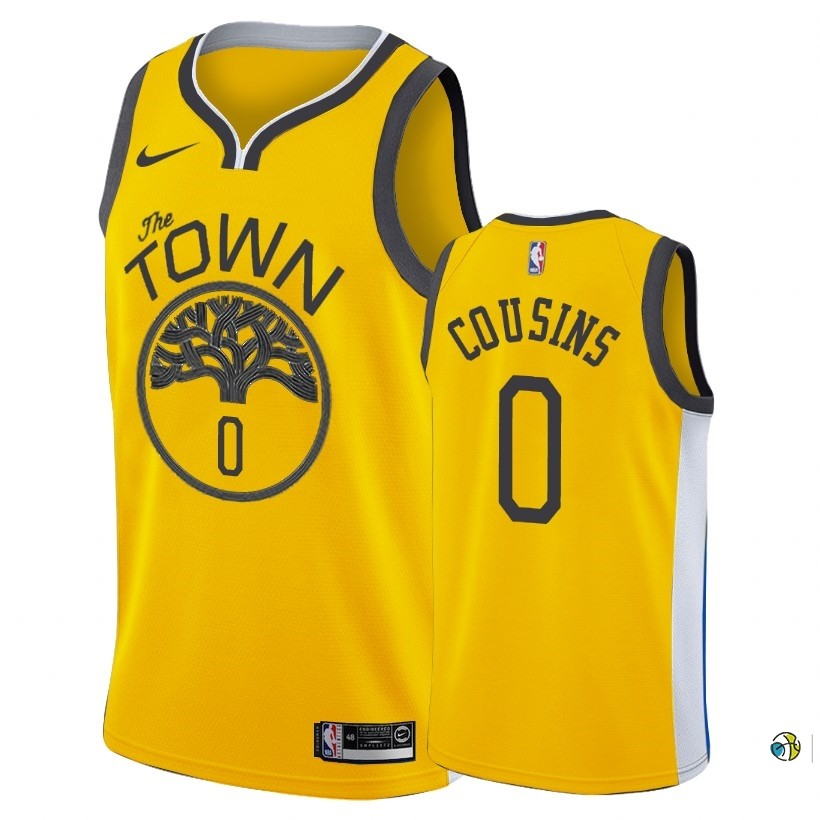 Maillot NBA Earned Edition Golden State Warriors NO.0 Demarcus Cousins Nike Or 2018-19