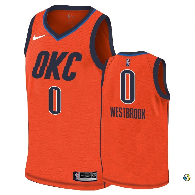 Maillot NBA Earned Edition Oklahoma City Thunder NO.0 Russell Westbrook Orange 2018-19
