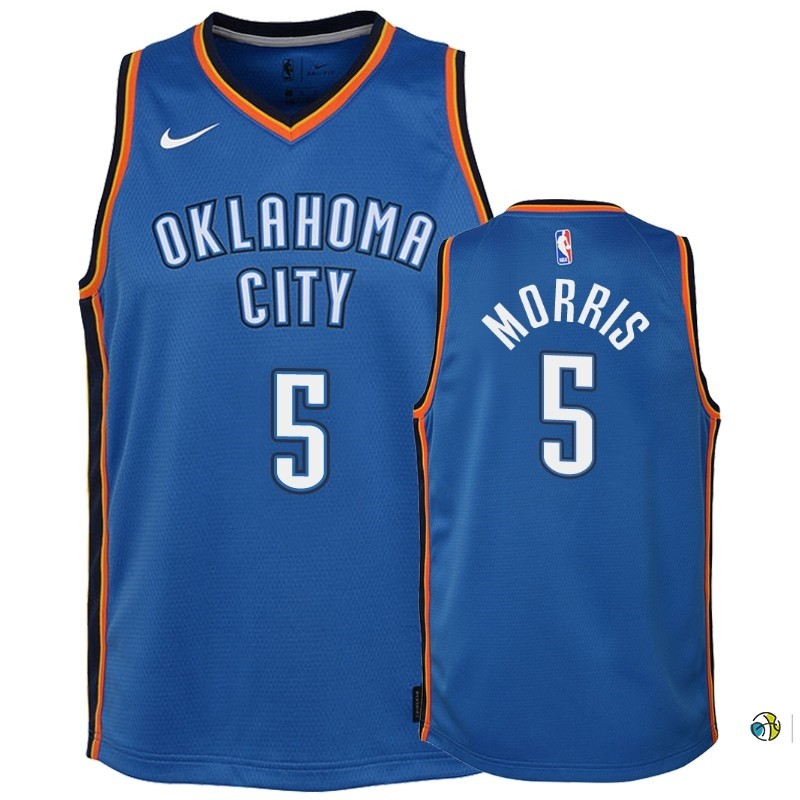 Maillot NBA Enfant Oklahoma City Thunder NO.5 Markieff Morris Bleu Icon 2018