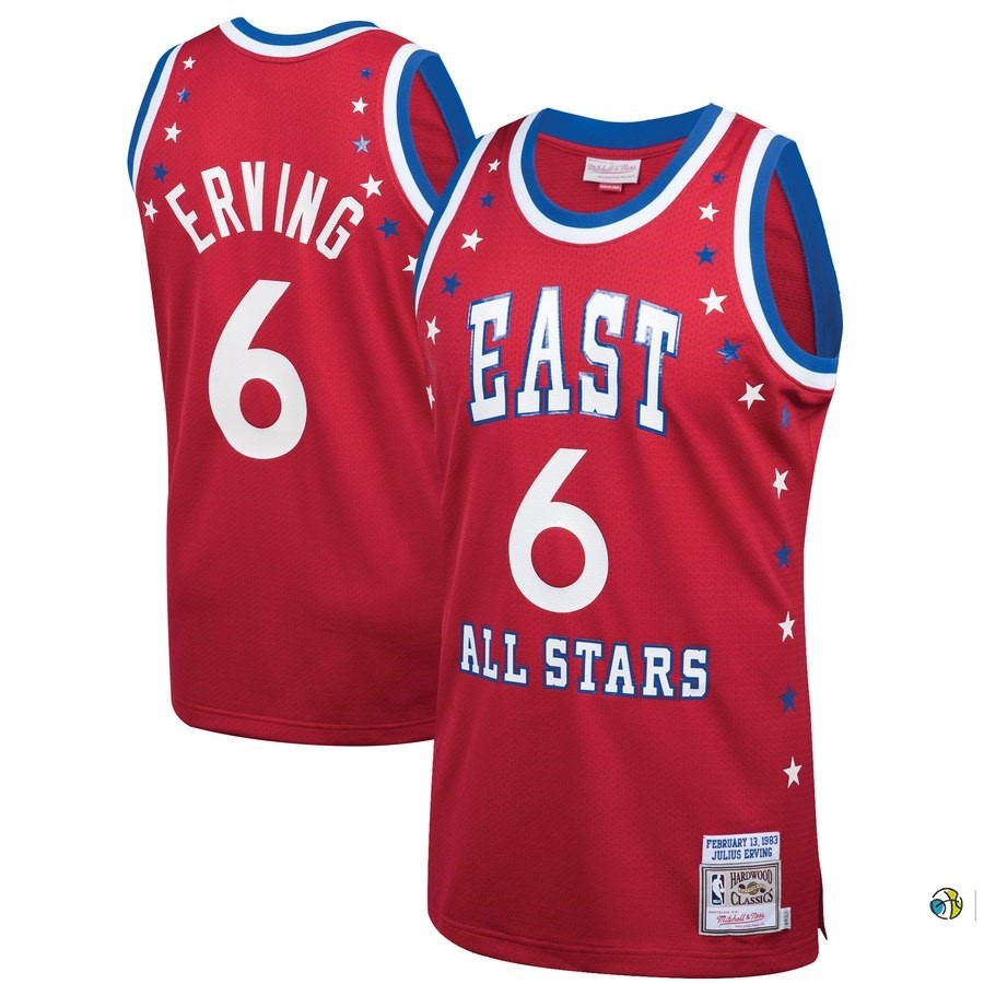 Maillot NBA All Star 1983 NO.6 Julius Erving Rouge