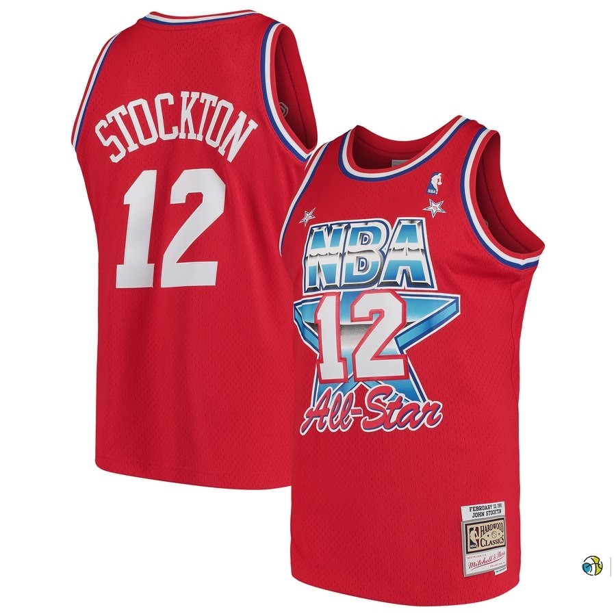 Maillot NBA All Star 1991 NO.12 John Stockton Rouge