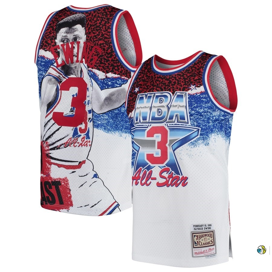 Maillot NBA All Star 1991 NO.3 Patrick Ewing Blanc
