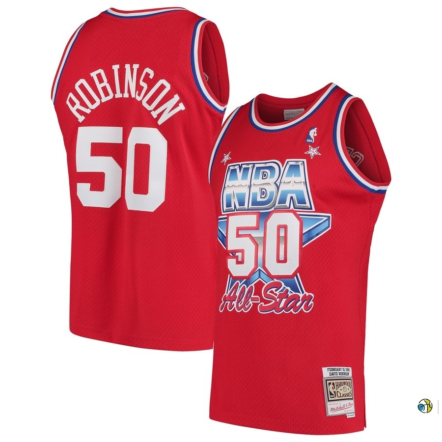 Maillot NBA All Star 1991 NO.50 David Robinson Rouge