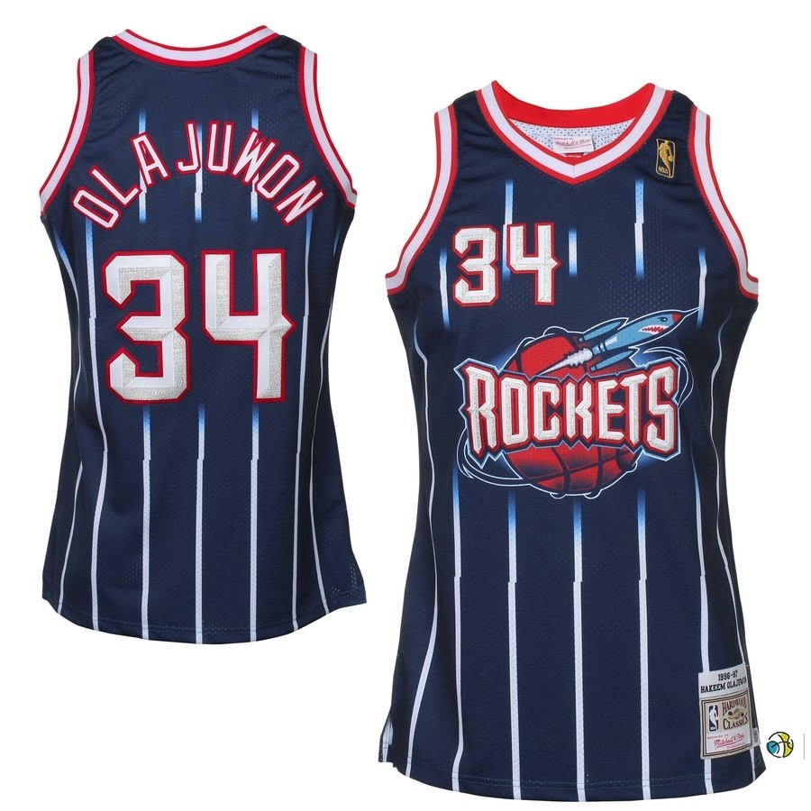 Maillot NBA All Star 1996-97 NO.34 Hakeem Olajuwon Bleu