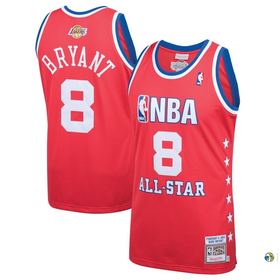 Maillot NBA All Star 2003 NO.8 Kobe Bryant Rouge