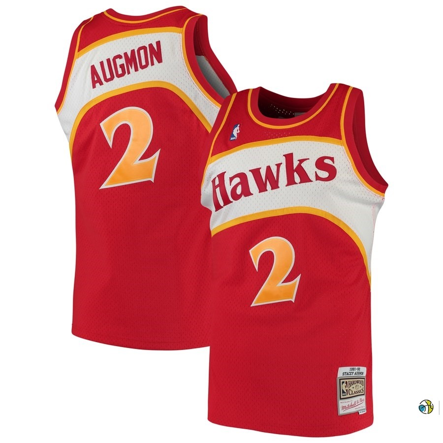 Maillot NBA Atlanta Hawks NO.2 Stacey Augmon Rouge Hardwood Classics 1991-92