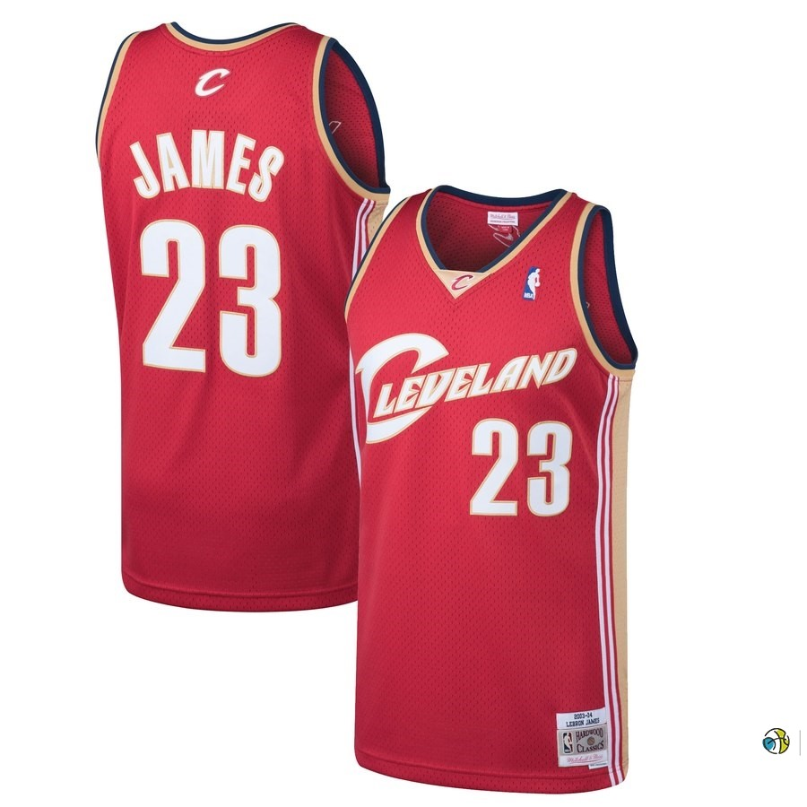 Maillot NBA Cleveland Cavaliers NO.23 Lebron James Rouge Hardwood Classics 2003-04