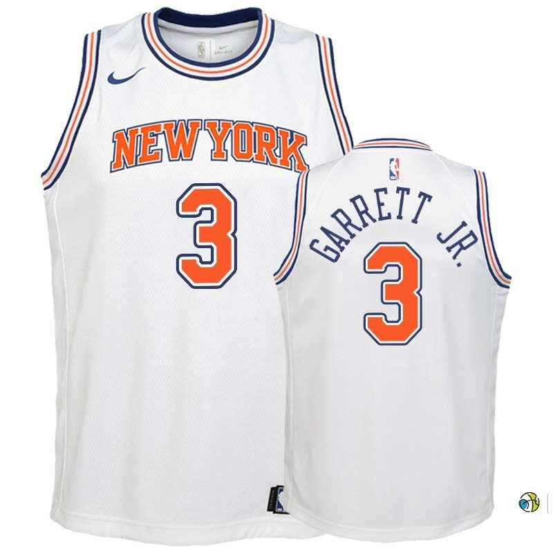 Maillot NBA Enfant New York Knicks NO.3 Billy Garrett Jr. Blanc Statement 2018-19