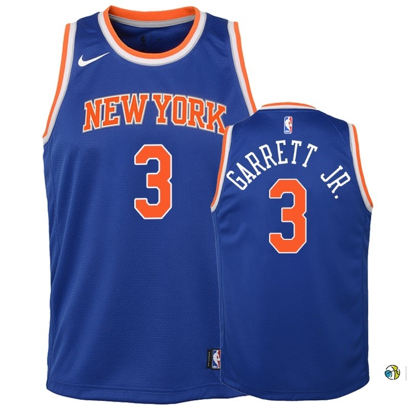 Maillot NBA Enfant New York Knicks NO.3 Billy Garrett Jr. Bleu Icon 2018-19