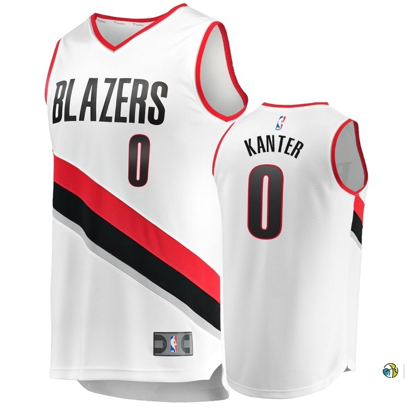 Maillot NBA Enfant Portland Trail Blazers NO.0 Enes Kanter Blanc Icon