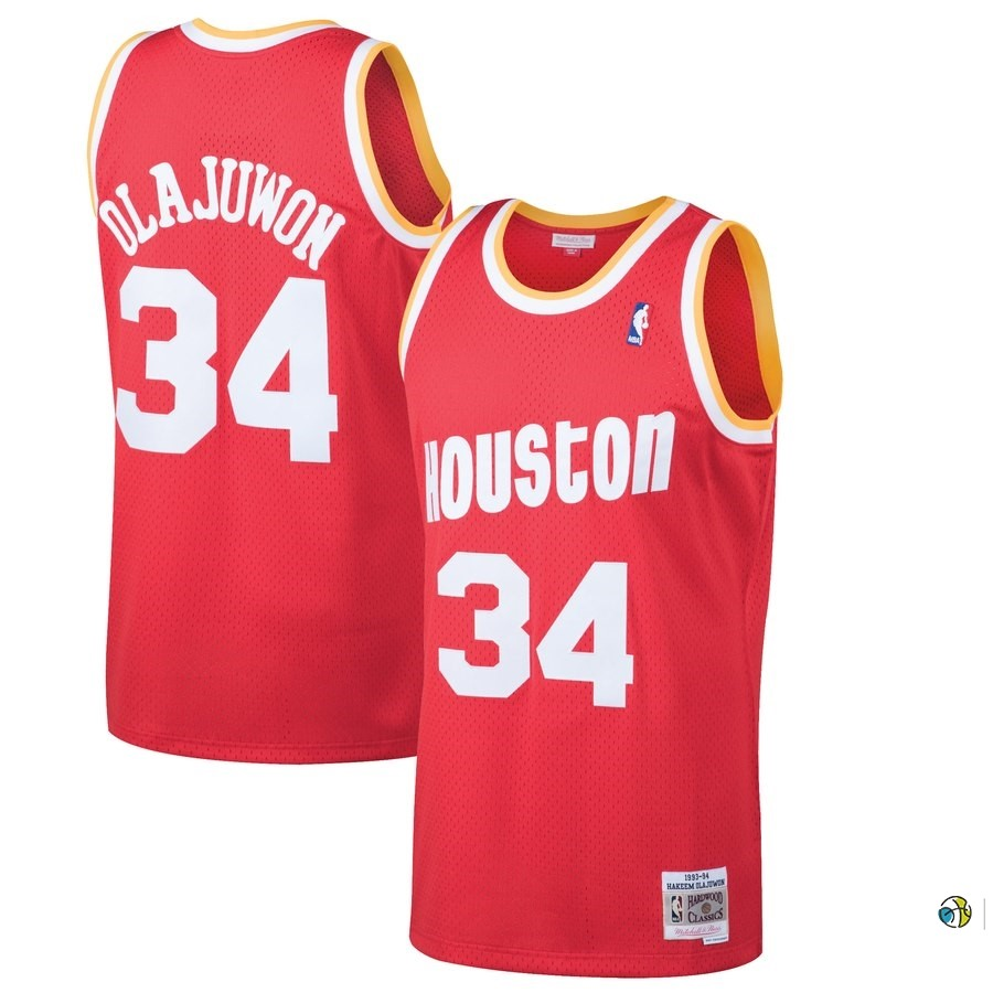 Maillot NBA Houston Rockets NO.34 Hakeem Olajuwon Rouge Hardwood Classics 1993-94