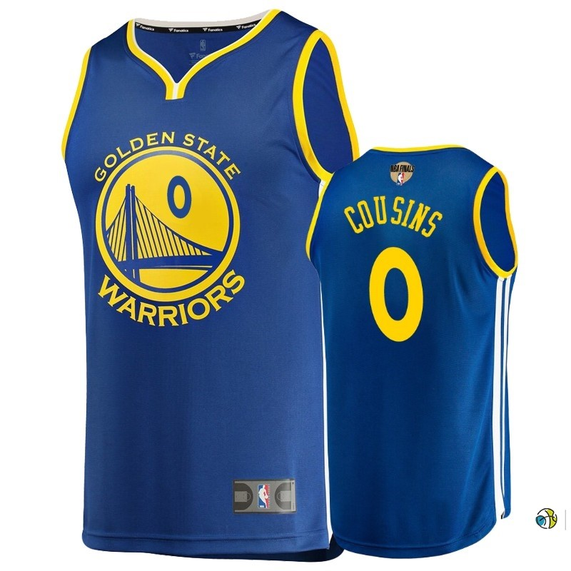 Maillot Golden State Warriors 2019 NBA Finales NO.0 Demarcus Cousin Bleu Icon