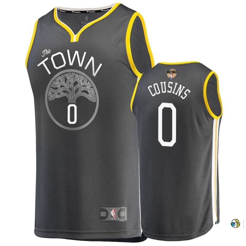 Maillot Golden State Warriors 2019 NBA Finales NO.0 Demarcus Cousins Gris Statement