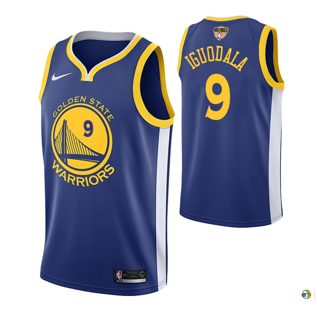 Maillot Golden State Warriors 2019 NBA Finales NO.9 Andre Iguodala Bleu Icon