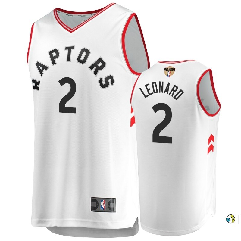 Maillot Toronto Raptors 2019 NBA Finales NO.2 Kawhi Leonard Blanc Retro Association