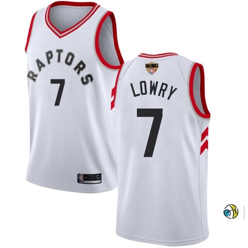 Maillot Toronto Raptors 2019 NBA Finales NO.7 Kyle Lowry Blanc Association
