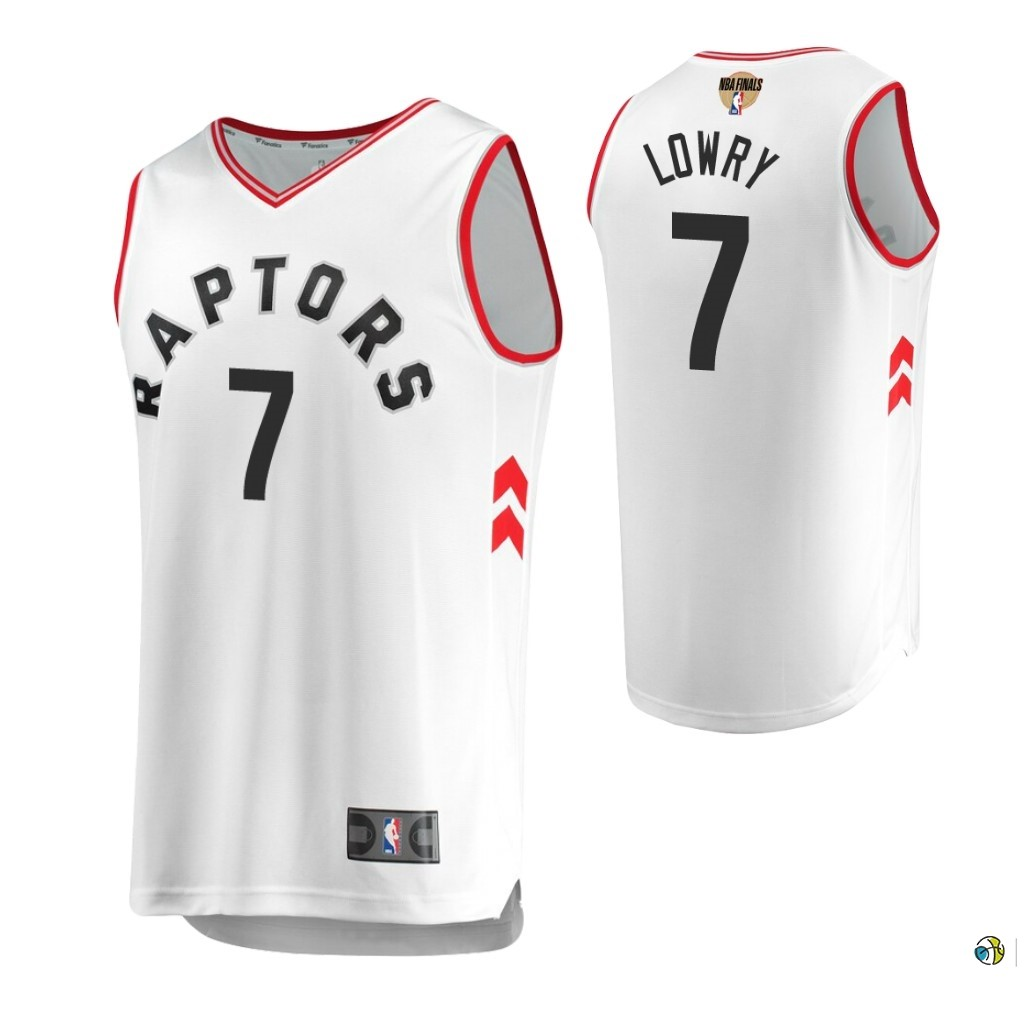 Maillot Toronto Raptors 2019 NBA Finales NO.7 Kyle Lowry Blanc Retro Association